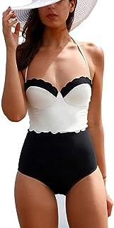 SiQing Traje de baño de Dos Piezas con Costuras en Blanco y Negro, Push up Acolchado, Bikini de Playa para Mujer