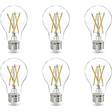 Amazon Basics 60W Equivalent, Clear, Daylight, Dimmable, CEC Compliant, A19 LED Light Bulb | 6-Pack