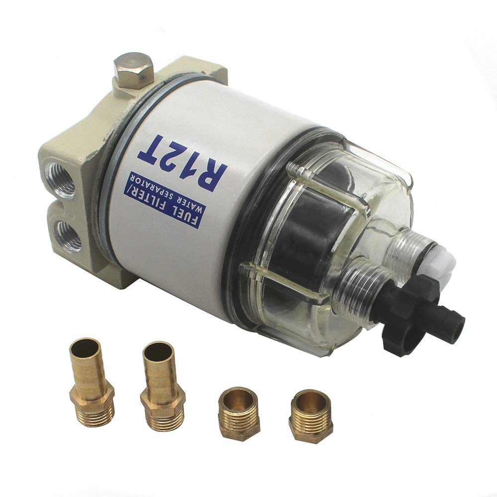 Amazon.com: KIPA R12T Fuel Filter Water Separator 120AT NPT ZG1/4-19 with  Fitting Complete Combo Filter For Automotive Racor R12T 10 Micron Marine  Diesel Engine 3/8 Inch NPT Outboard Motor Durable Spin-on Housing:Amazon.com