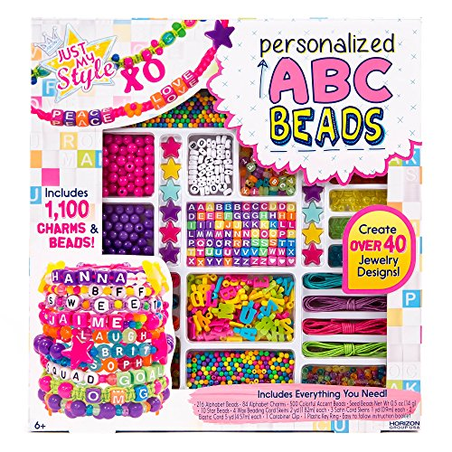 Just My Style ABC Beads by Horizon Group USA,DIY Jewelry Making Kit With 1000+ Charms & Beads.Make Custom VSCO Bracelets,Necklaces & More.Alphabet Charms,Beads,Beading Cords & Key Ring Included,Bright