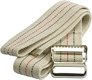 Medline MDT821203L Washable Cotton Gait Belts, Natural/Blue/Red Stripes