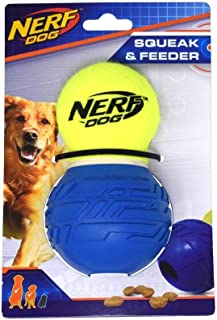 Nerf Dog Squeak Dog Toy with Interactive Treat Feeder, Lightweight, Durable and Water Resistant, 5.25 inches for Medium/La...