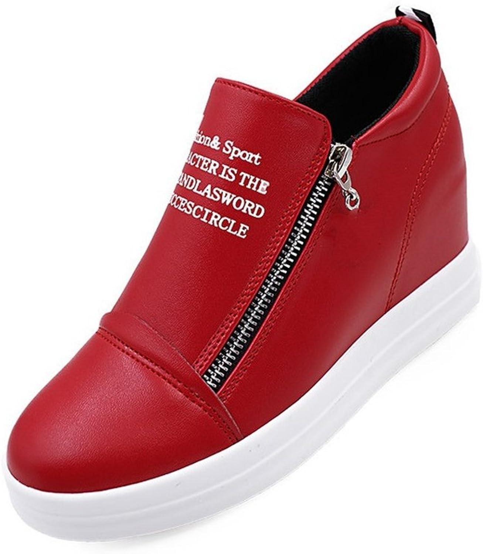 CYBLING Fashion Women Low Top Platform Zipper Hidden Heel Wedge Sneakers