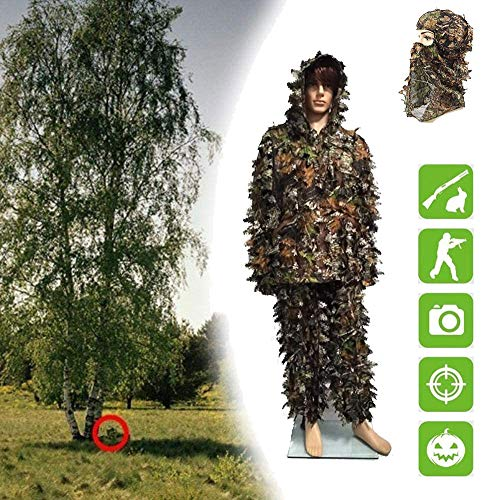 Geely Suit Outdoor, Outdoor 3D Leaf Camouflage Camouflage Camouflage Mantel Voor Militaire Jungle Hunting Paintball Airsoft Woodland Hunting Clothing