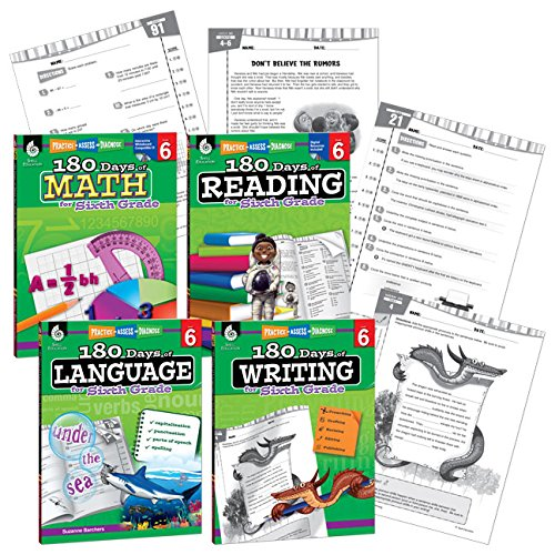 180 Days of Practice - 6th Grade Workbook Set for Kids Ages 10-12 - Includes 4 Assorted Workbooks for Daily Practice in Reading, Math, Writing, and Grammar Skills
