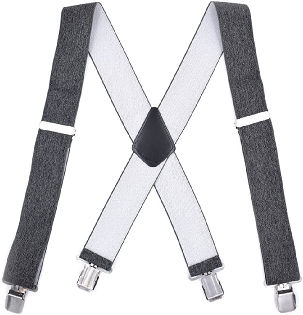 YUNEE Straps Braces Men 4 Clips Adjustment Elastic Suspenders Jeans Trousers Braces 5CM Width