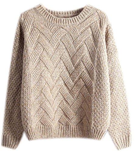 Fuxiang Mohair Sweater Grobstrick Pullover Zopfpullover Damen Sweatjacke Sweaters Winterpullover Schicke Mantel Frauen Pullover Herbst Winter Kaki
