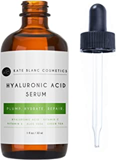 Hyaluronic Acid Serum for Face, Eyes, Skin by Kate Blanc. Plump, Soften and Hydrate Skin. Non-greasy, light, Absorbs Quickly. Anti-Aging. 1-Year Guarantee. (1 oz)