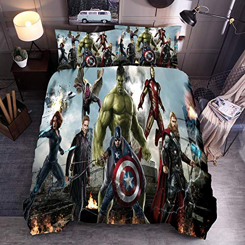 Fadaseo Duvet Cover Sets King 240 X 220 Cm 3D Printing Movie Characters 3 Pieces Bedding Set. Easy Care And Super Soft Cotton Design.With 2 Pillowcases Hypoallergenic