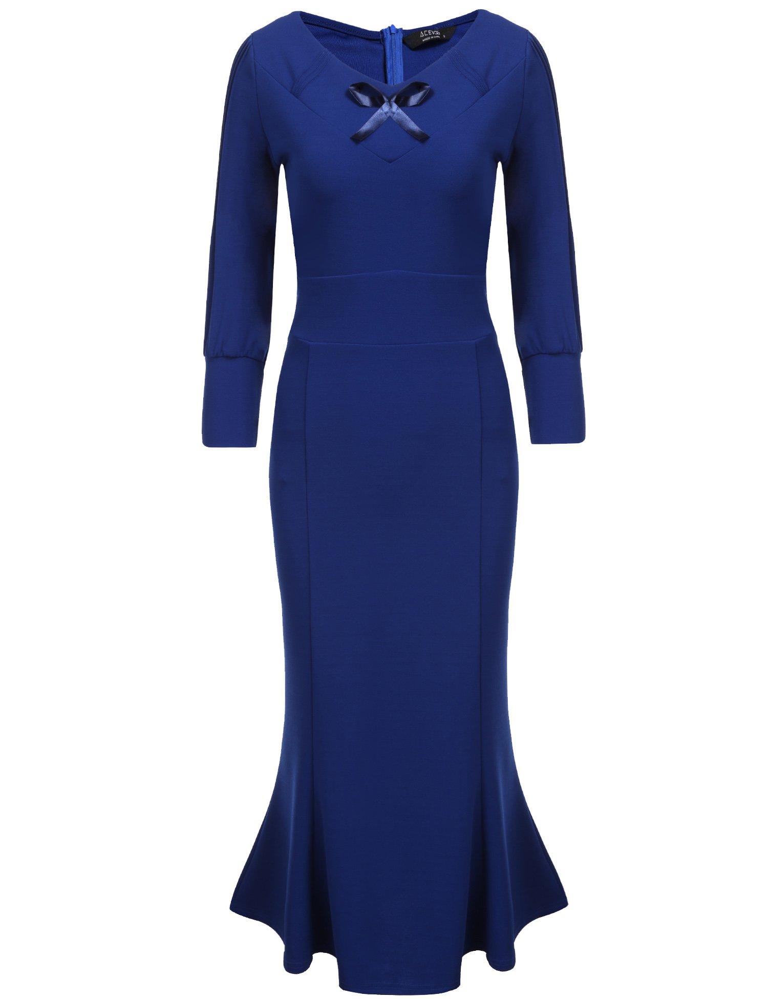 Available at Amazon: ACEVOG Women's Elegant V Neck 3/4 Sleeve Bodycon Fishtail Midi Cocktail Dress