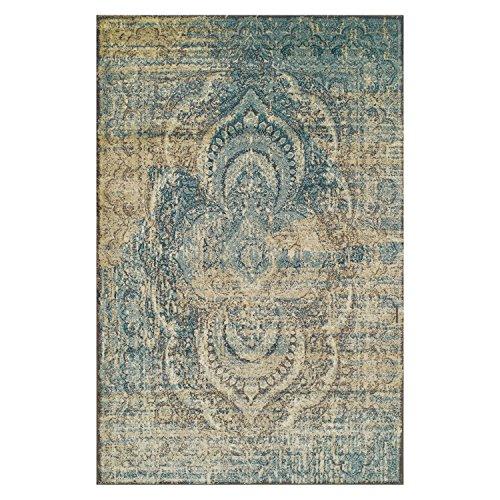 SUPERIOR Eddard Indoor Area Rug, Super Soft, Durable, Elegant, Vintage, Moroccan Pattern, Jute Backing, Blue Beige, 8' x 10' Runner
