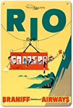 Pacifica Island Art 8in x 12in Vintage Tin Sign - Rio de Janeiro, Brazil - Cable Car to Sugar Loaf Mountain - Braniff International Airways