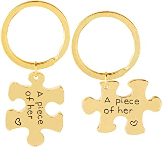 Aooaz Key Chain Id Tag 2 Pcs Puzzle Engraved A Piece of Her Keychain Women Gold