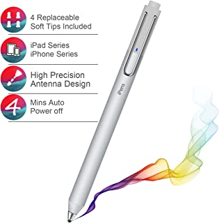 Stylus for Apple,Compatible with All iOS Series iPad Pro/iPad Mini/iPad/iPhone Xs/iPhone XR/iPhone X,Used on iOS System Touch Screens,Provide 4 fine 2mm Rubber Tips,Capacitive Rechargeable Pen