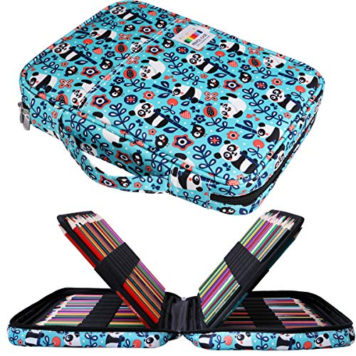 JAKAGO 166 Colored Pencil Case Waterproof Pen Organizer Large Capacity Pencil Bag Carrying Multi Pencil Case Holder for Marker, Gel Pen, Highlighters, Watercolor Pen, Brushes (Panda)