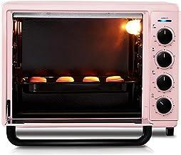 LZ Horno de encimera de 42L sobre Cocina con Hierro Fundido, Plancha y Tapa esmaltados, hornos tostadores Retro Inteligentes, Horno para tostar Galletas para Hornear Pizza, Rosa