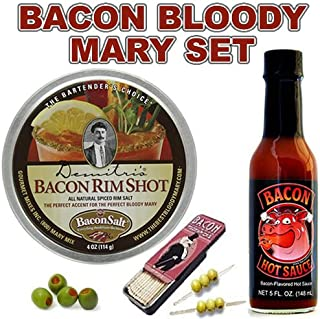 Bacon Bloody Mary / Bloody Caesar Gift Pack (3pc Set) - Bacon Cocktail Rim Salt, Bacon Hot Sauce & Bacon Toothpicks