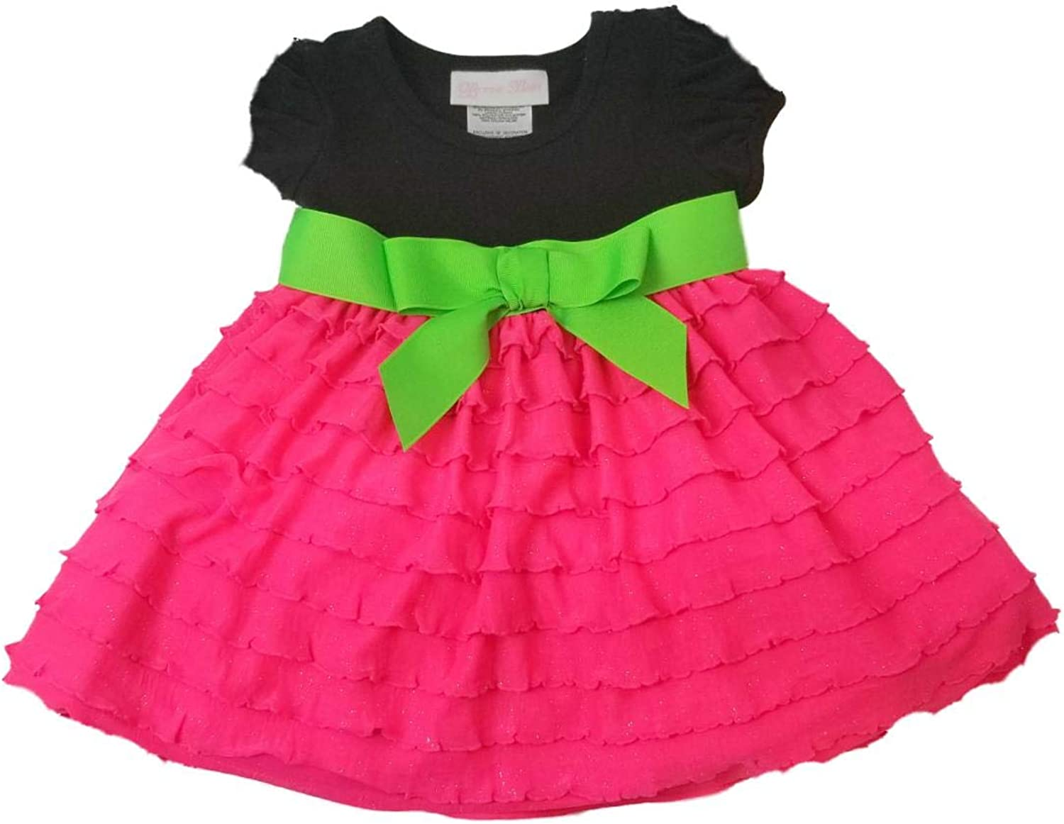 Bonnie Baby Infant Girls Black Al sold out. Neon Sundress Pink Sun Ruffle specialty shop Dre