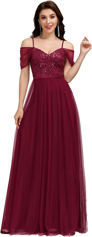 Ever-Pretty Women's A-Line Cold Shoulder Wedding Party Long Bridesmaid Dress 0766