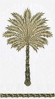Caspari Grand Palms Paper Guest Towel Napkins in Black - Two Packs of 15