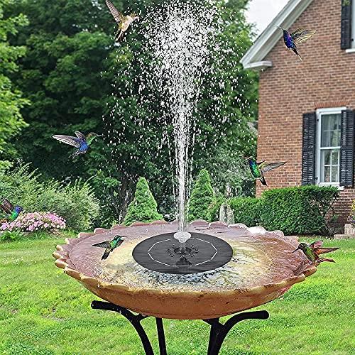 7.4V Fuente Solar, Fuente Solar para Estanque con Luces LED y 6 Boquillas, para Estanque de Jardín Fuente, Baño para Pájaros, Césped, Piscina, Circulación de Agua para Oxígeno