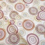 Stoff Meterware Baumwolle Mandala Creme rosa grau Kreise