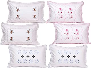 "HSR Collection Pure Cotton 300TC Standard Size White Pillow Cover (Set of 6) - 18""x28""- Flower Leaf Pattern"