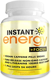Instant Energy and Focus Supplement - Vegan Caffeine Pills 200mg - Time Release Non-GMO Caffeine and L-Theanine 100mg Best Energy Pills - 1 Pill Lasts 24 Hours