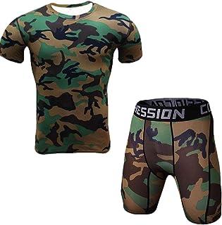Men Summer Compression Shirts Cool Dry Baselayer Tights Shorts 2Pcs Set