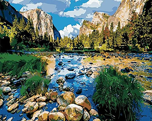 Painting landscapes by numbers, DIY home art decoration, suitable for adults, children, with brushes, acrylic paint D-4 40x50cm
