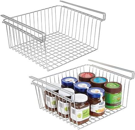 Cesta almacenaje colgante mDesign de acero de alta calidad en color bronce Cesto almacenaje perfecta para la cocina o despensa