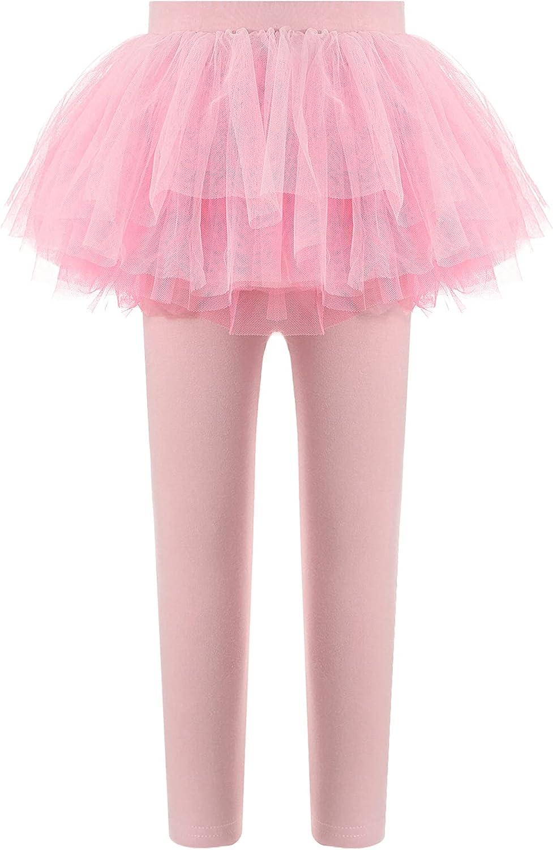 FEESHOW Toddler Girls Footless Leggings with Ruffle Tutu Skirt Stretchy Cotton Pantskirt Tights for Ballet Dancewear