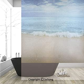 3D Decorative Privacy Window Films,India Andaman Islands Calm Sea Soft Sand Beach Summer,No-Glue Self Static Cling Glass Film for Home Bedroom Bathroom Kitchen Office 36x48 Inch