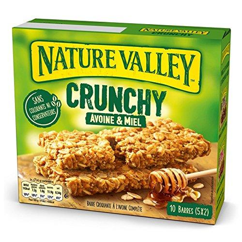 Nature Valley - Barres de Céréales Crunchy Avoine & Miel - Boite de 10 Barres de Céréales - Lot de 5 (50 Barres)
