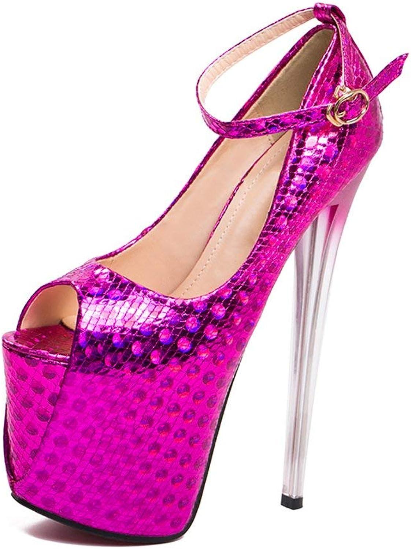 ZX Boots Women's Ankle Strap Peep Toe Platform Club Pumps Super High Heels Dress Sandals