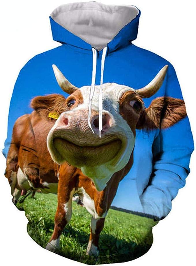 Nouveau 3D Imprimer bovins laitiers Motif Femmes Hommes Casual Hoodies Pullover Sweatshirts