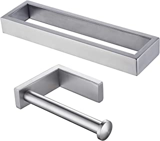 KLXHOME Bathroom Accessories Set 2-Piece Bath Hardware Kit Brushed Stainless Steel Wall Mount - Includes Hand Towel Ring, ...