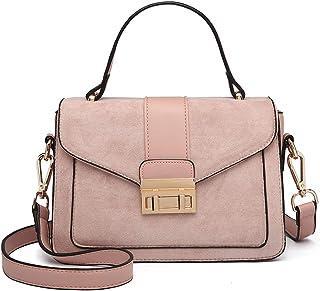 Miss Lulu Women Top Handle Bag Suede Handbags Pu Leather Shoulder Bag Elegant Modern For Work Shopping Travel (Pink)
