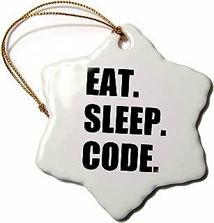 3dRose ORN_180391_1 Eat Sleep Code Computer Coder. Programmer. Love to Program. Coding Snowflake Ornament, Porcelain, 3-Inch
