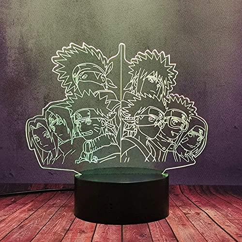 3D LED Japón Naruto Anime Comic Night Light Uzumaki Naruto Uchiha Sasuke Kakashi Lámpara Familia Táctil Lámpara de Escritorio Remoto con 16 Color Color & AMP AMP 4 Modos Flash Regalo