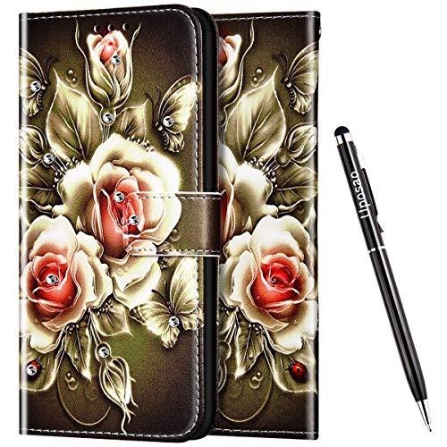 Uposao Kompatibel mit Samsung Galaxy A51 Hülle Leder Handyhülle Glitzer 3D Bling Strass Diamant Wallet Hülle Klapphülle Brieftasche Schutzhülle Flip Case Magnetisch Kartenfach,Rose Blumen