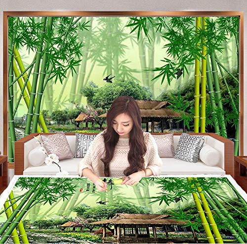 Bamboo Tv Background Wall Paper Bamboo Forest Landscape Idyllic Landscape Wallpaper Chinese Style Living Room Decoration Mural Wall Covering-350Cmx245Cm