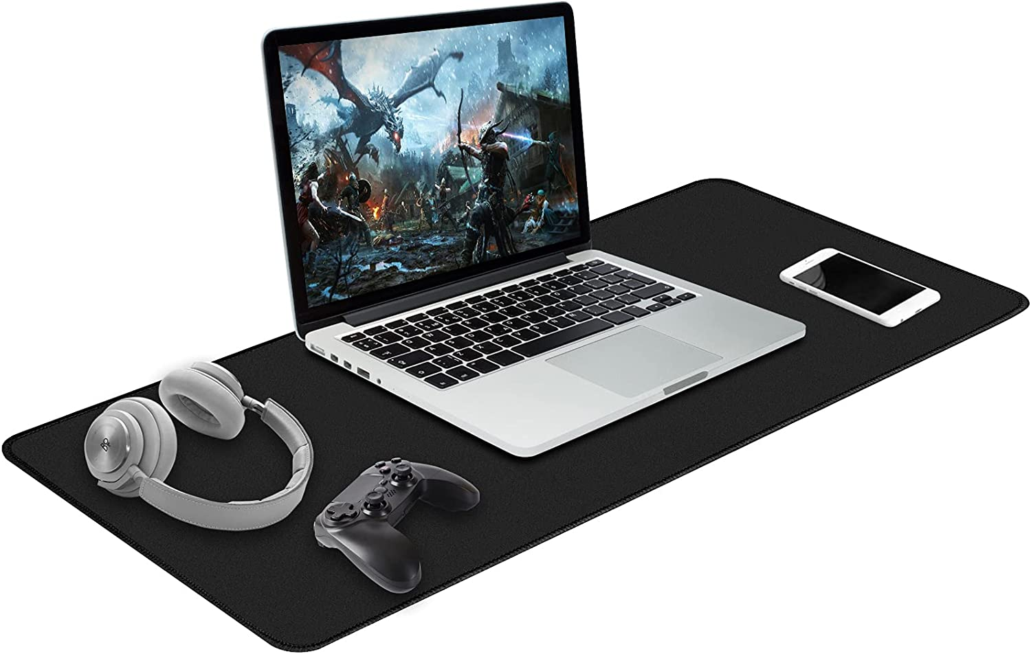 Hvanhome Large Mouse Pad, (35.4 x 15.7in, Black) Extended Gaming Mousepad with Non-Slip Rubber Base, Computer Keyboard Mouse Mat with Superior Stitched Edges, Desk Pad Protector for Office and Home