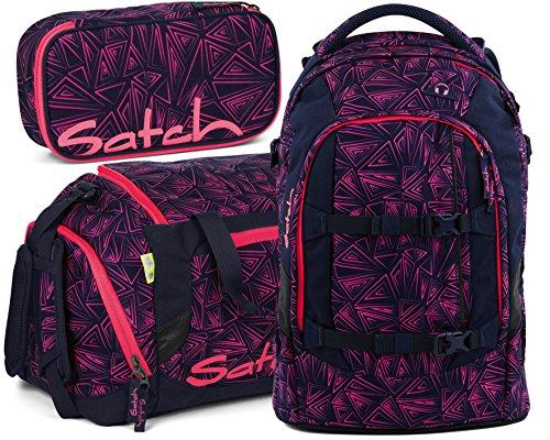 Satch Pack Pink Bermuda 3er Set Schulrucksack, Sporttasche & Schlamperbox