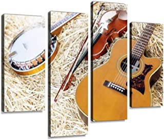 Banjo, Acoustic Guitar and Fiddle on Straw Canvas Wall Art Hanging Paintings Modern Artwork Abstract Picture Prints Home Decoration Gift Unique Designed Framed 4 Panel
