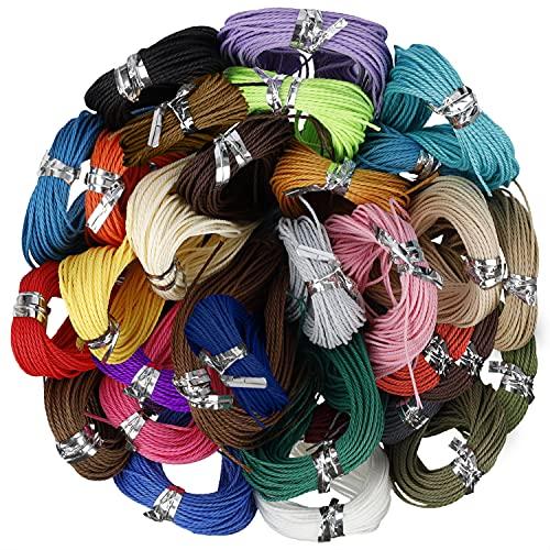 Handi Stitch Hilo Encerado de Poliéster (Pack de 30) - 10 m Colores Variados de 1 mm - Hilos para Hacer Pulseras, Brazaletes, Tobilleras y Collares, Cuerda Macramé, Colgar Plantas, Manualidades
