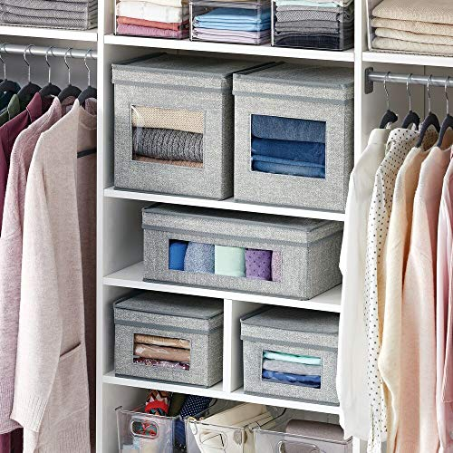 mDesign Soft Fabric Stackable Closet Storage Organizer Box with Clear Window and Attached Hinged Lid for Bedroom, Hallway, Entryway, Closets, 6 Pack - Gray