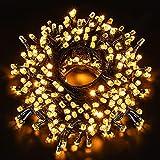 Luces Navidad Exterior 50M 500LEDs,GlobaLink Luces Árbol Navidad IP44 Impermeable,Luces LED en Forma Diamante,Brillo de 8 Modos,Decoracion Navidad,Patio,Jardín,Habitación,Boda con Bobina,50 Bridas
