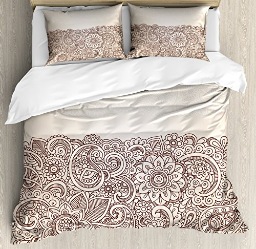 Ambesonne Oriental Duvet Cover Set, Complex Design Mandala and Paisley Nature Inspired Traditional Victorian Revival, Decorative 3 Piece Bedding Set with 2 Pillow Shams, Queen Size, Brown Tan