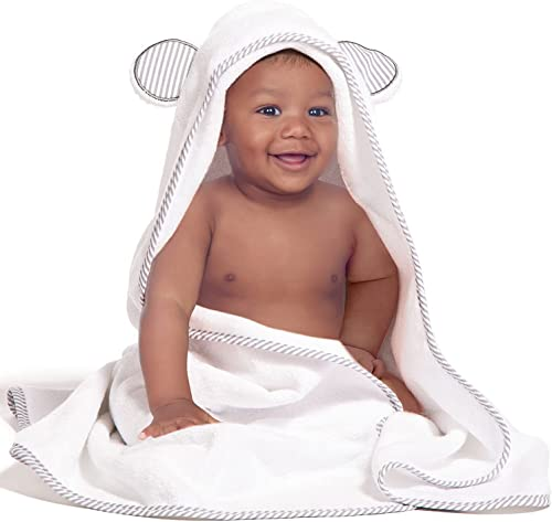 Organic Bamboo Hooded Baby Towel – Soft, Hooded Bath Towels with Ears for Babies, Toddlers – Hypoallergenic, Large Ba...
